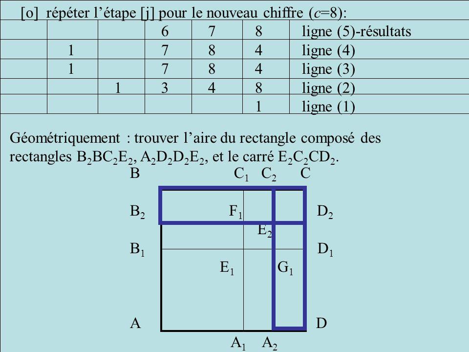 [o] répéter l'étape [j] pour le nouveau chiffre (c=8):